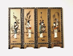 Vintage Japanese Hand Painted 4 Panel Screen Mother Of Pearl Inlay Free Shipping