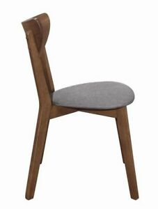 Modern 2pc Set Dining Chairs Natural Walnut Upholstery Seating Fabric Gray Seat