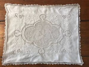 Vintage Edwardian Small Baby Pillow Case White Punch Work Lace Embroidery 16x12
