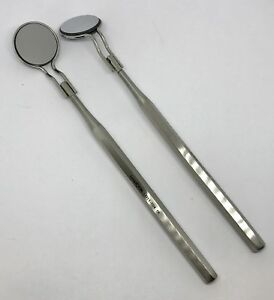 2x Double Sided Dental Mirrors 5 Front Surface Hollow Handle Dental Instruments