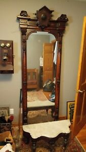 Huge 9 Foot Antique Gold Gilt Pier Hall Mirror Ornate Victorian Tree Ebonized