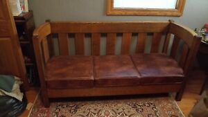 Antique Mission Oak Arts And Crafts Even Arm Settle Couch Sofa Stickley Limbert