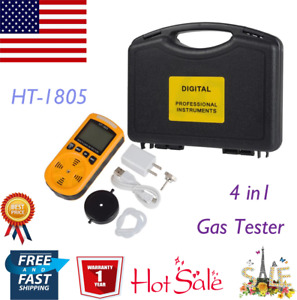 Portable Ht 1805 4 In1 Gas Analyzer Detector O2 Co H2s Harmful Gas Alarm Tester