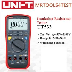 Insulation Resistance Tester Multimeter Uni t Ut533 True Rms 50 1000v Cap Temp M