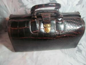 Vintage Upjohn Faux Crocodile Genuine Cowhide Leather Doctors Bag