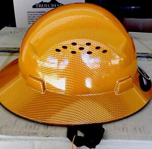 Hdpe Tan Hydro Dipped Fiberglass Design Hard Hat Full Brim With Fas trac Susp