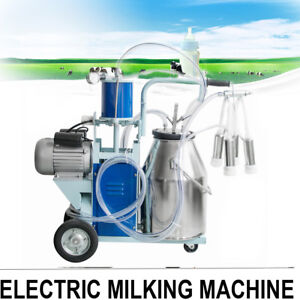 New Electric Milking Machine Milk Farm Cow Bucket 25l Stainless Steel Easy Use