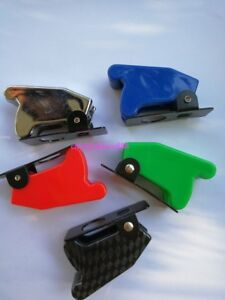 Red Blue Green Carbon Fiber Chrome Safety Flip Cover For Toggle Switch 12mm Dia