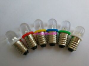 E10 6v Red Yellow Blue Green White 1447 Style Screw In Led Bulb For Diy Lionel