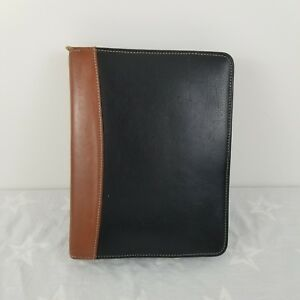 Franklin Quest Classic Black Brown Top Leather Planner Binder Organizer 7 ring