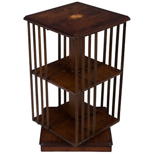 New Antique Style Square Revolving Bookcase Bookshelf Turning Spinning Rotating