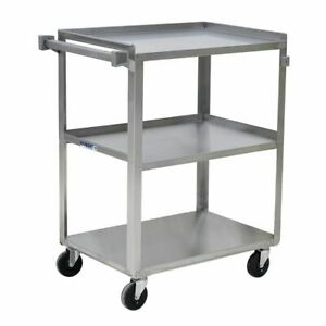 Hubert Utility Cart With 3 Shelves Stainless Steel 31 L X 19 W X 32 H