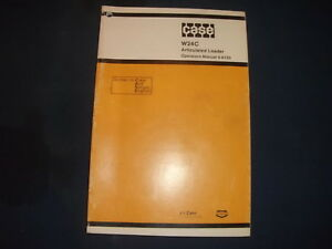 Case W24c Articulated Loader Operator Operation Maintenance Manual Book Oem