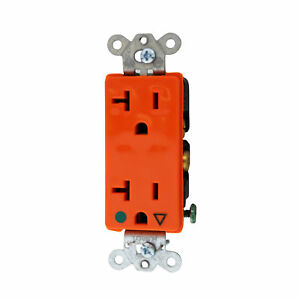 Hubbell Ig2182 Hospital Grade Duplex Receptacle 125v 20a 2 p 3 w Orange