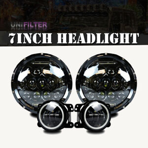 2x 7 150w Total Halo Led Headlight Combo Drl Hi Low For Jeep 07 16 Wrangler Jk