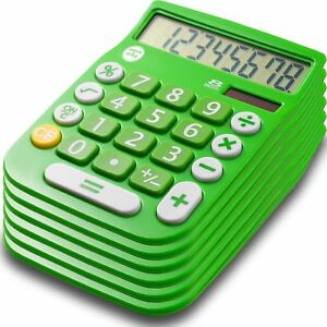 Office Style 8 Digit Dual Powered Calculator With Large Lcd Display Green pa