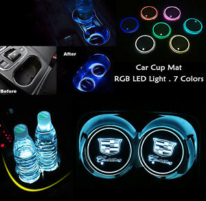 Colorful Led Car Cup Holder Pad Mat For Cadillac Auto Interior Atmosphere Lights