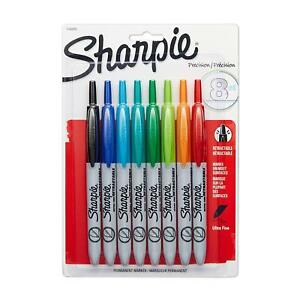 Sharpie Retractable Permanent Markers Ultra Fine Point Assorted Colors Case