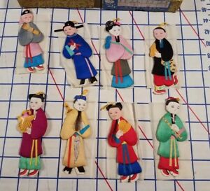 Vintage Set 8 Chinese Silk Paper Dolls Hang Ornament Figures Figurine Toy Statue