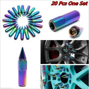 20 Neo Chrome M12x1 25 Spiked Extended Tuner 60mm Aluminum Wheels Rims Lug Nuts