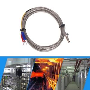 J Type M6 Screw Probe Thermocouple Temperature Sensor With 2m Cable For Industry