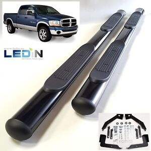 4 Oval Side Step Nerf Bar For 02 08 Dodge Ram 1500 03 2500 3500 Quad Cab Black