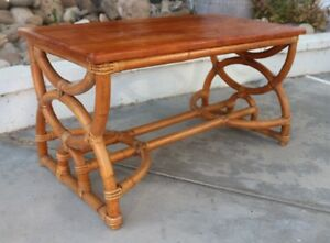 Fabulous Curly Bentwood Rattan Mahogany Eames Era Coffee Table Vintage