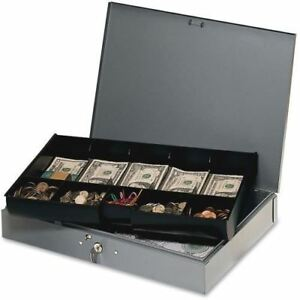 Mmf Cash Box With 10 compartment Tray 2215cbtgy