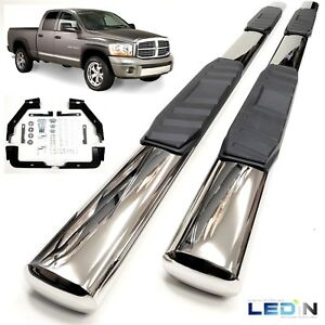 5 Oval Side Step Nerf Bar For 02 08 Dodge Ram 1500 03 2500 3500 Quad Cab Chrome