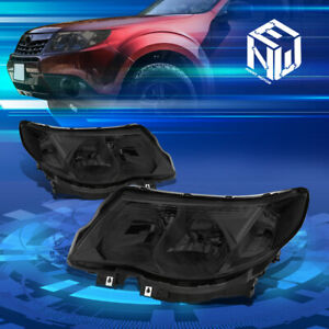 For 09 13 Subaru Forester Smoked Housing Clear Side Headlight lamps Replacement