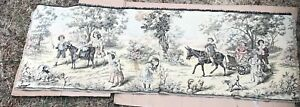 Over 100 Year Old 18x52 Tapestry Goat Children Birds Dogs Rare Antique Victorian