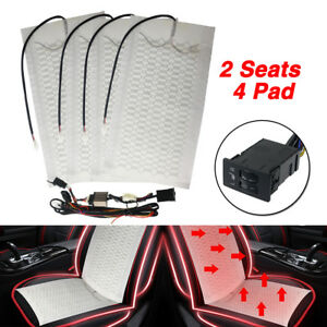 Car Seat Carbon Fiber Heated Cushion Seat Heater Cover Pad Hi lo Switch Kit 12v