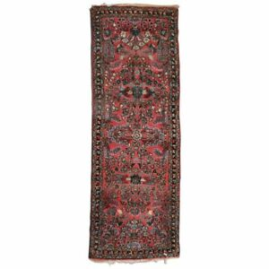 Persian Hand Knotted Wool Floral Sarouk Oriental Rug Runner Circa 1930
