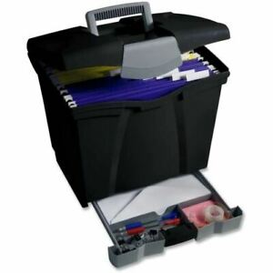 Storex Portable File Boxes W supply Drawer 61513b04c