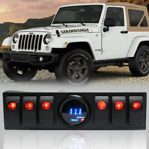 For Jeep Wrangler Led Voltmeter Switch Panel Jeep 6 Rocker Switch Control 12 24v