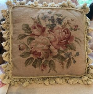 Vintage French Aubusson Tapestry Pillow Roses Forget Me Nots Tassel Trim