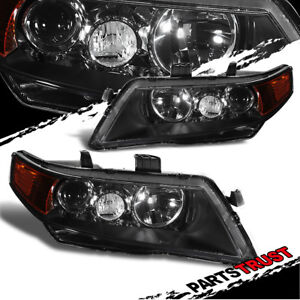 2004 2008 Acura Tsx Projector Factory Style Black Headlights 2005 2006 2007