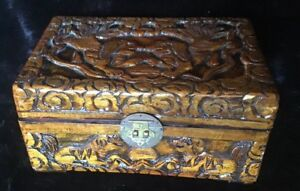 Antique Chinese Carved Huanghuali Wood Jewelry Box Foo Dogs Bat Flowers