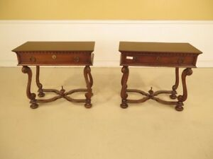 F42048 Pair Hickory Chair Co Walnut Drawer Nightstand Tables