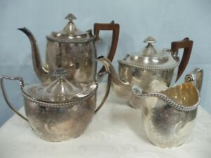 Antique English Chased Silver Plate Coffee Tea Set W Wood Handles 4 Piece Set