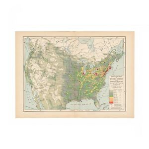 Vintage Population Map Of The United States And Canada From Disbound 1931 Book