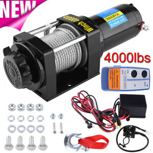 Classic 12v 4000lbs Electric Winch Towing Truck Trailer Steel Cable Off Road