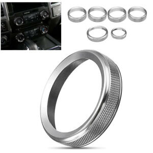 Silver Air Conditioner Audio Switch Decor Ring Cover Trim For Ford F150 2016 201