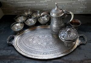 Antique Persian Solid Silver Tea Set Persepolis Takhte Jamshid Design
