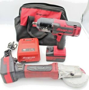 Snap On Tools Ct8850 1 2 18v Cordless Impact Ctgr8850 Angle Grinder Combo