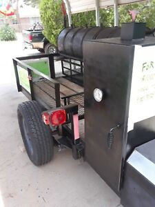 Barbarque Pit Smoker disc double Grill On A 12 Trailer