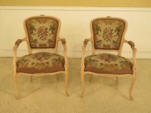 F44381ec Pair French Louis Xv Style Needlepoint Arm Chairs