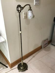 Vintage Art Deco Bridge Floor Lamp Brass Slag Glass Ornate Reverse Painted Shade