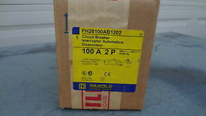 Fh26100ab New In Box Square D Circuit Breaker 100a 600v 2p Fh26100ab1202