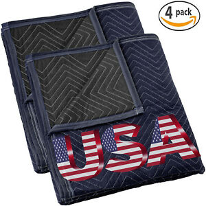 2 4 Moving Blankets 80 X 72 35 Lb dz Quilted Shipping Furniture Pads Bl blk